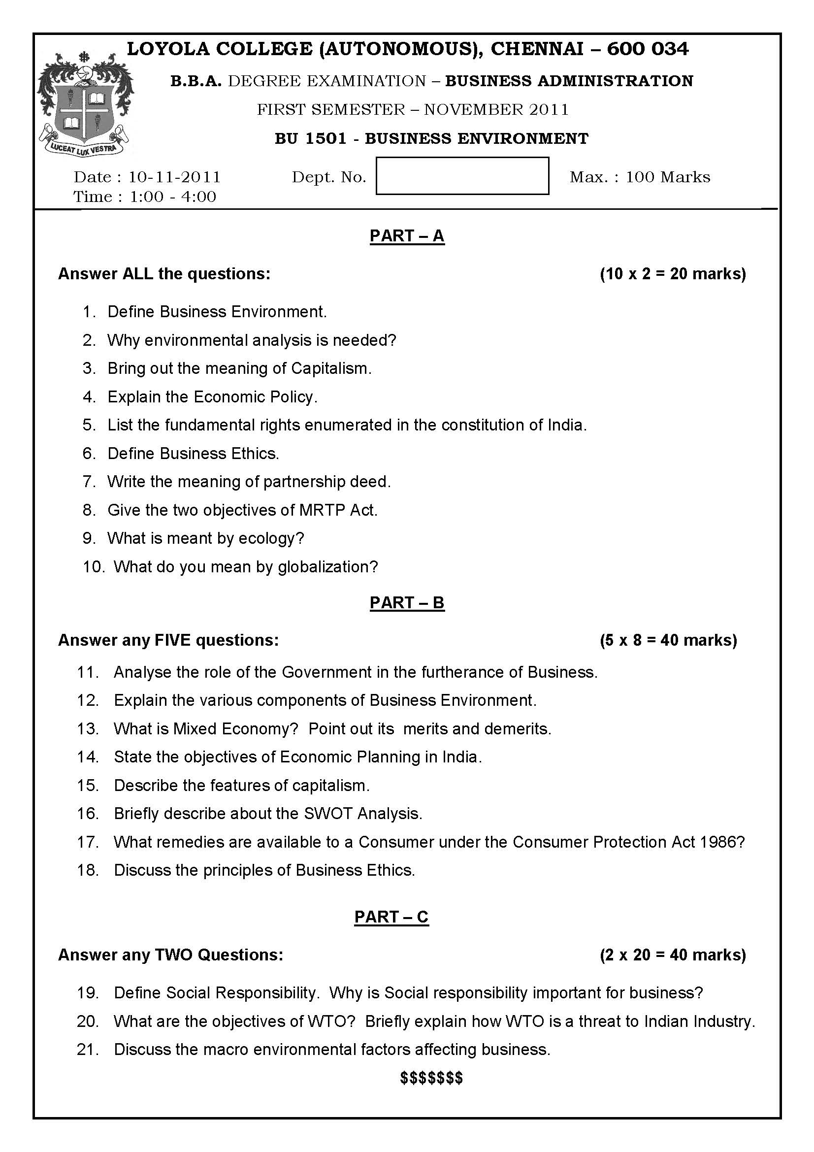 business ethics previous year question paper
